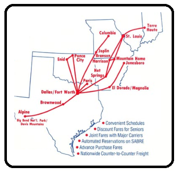 Lone Star Airlines Route Map