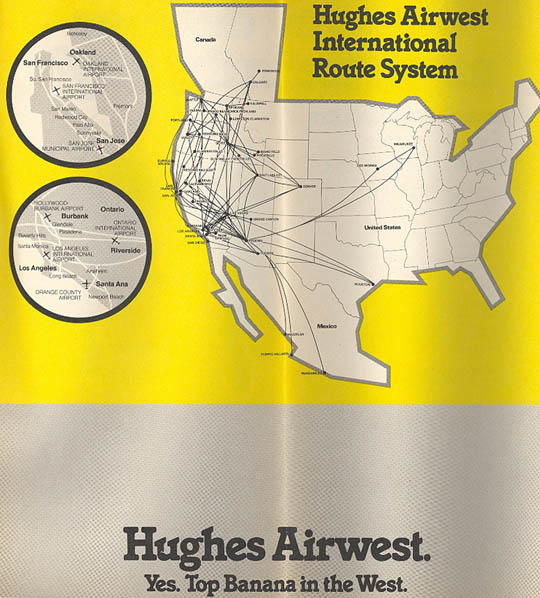 Hughs Airwest Route map